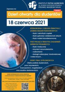 Plakat Dnia Otwartego IFJ PAN dla studentów 2021